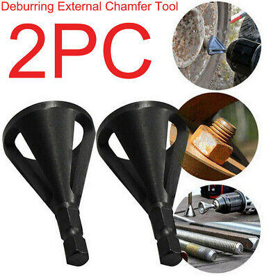 2pcs Deburring External Chamfer Tool Steel Remove Burr Tools Drill Bit Tool