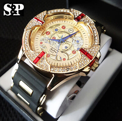 Men Luxury Hip Hop Iced Out Lab Diamond Silicone Bullet Band Dress Fashion Watch