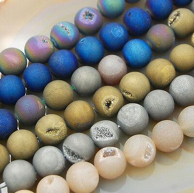 Natural Druzy Quartz Agate Round Beads 6mm 8mm 10mm 12mm 14mm 16mm 6mm Crystal Round Bead