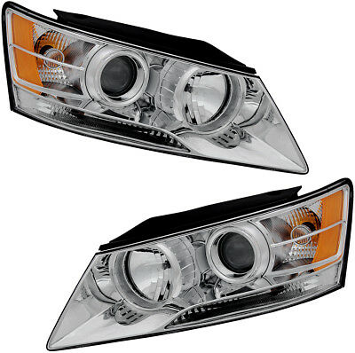 Headlights Headlight Assembly (w/Bulb) NEW Pair Set For 2009-2010 Hyundai - Hyundai Sonata Headlight Sonata