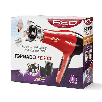 RED BY KISS TORNADO PRO 2000 HAIR BLOW DRYER W/3 ATTACHMENTS