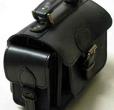SATTLERQUALITÄT Klassisch SCHWARZE Kameratasche LEDER Fototasche NEU Softcase #