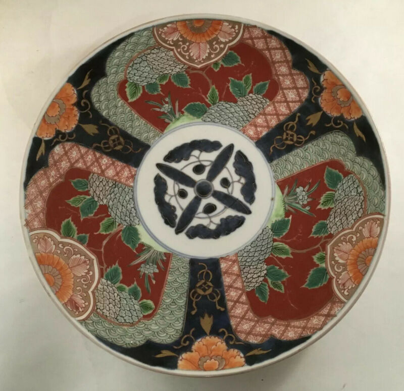 ANTIQUE LARGE IMARI PORCELAIN CHARGER PLATTER FLORAL BORDER JAPANESE ASIAN CHIP