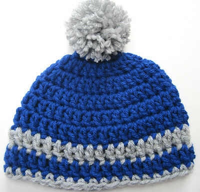 CROCHET BABY POM POM HAT cap knit  beanie blue boy/girl photo prop MADE in USA