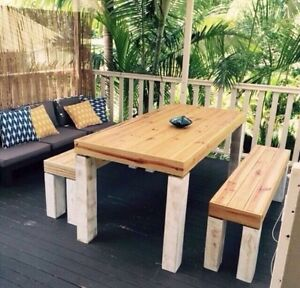 Rustic indoor/outdoor table and bench seats brand new custom made Carrara Gold Coast City Preview