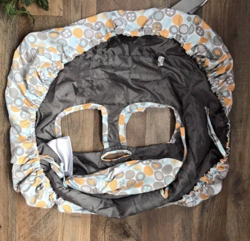 JJ Cole Shopping Cart Baby Seat Cover Blue Orange White Gray Circles Geometric
