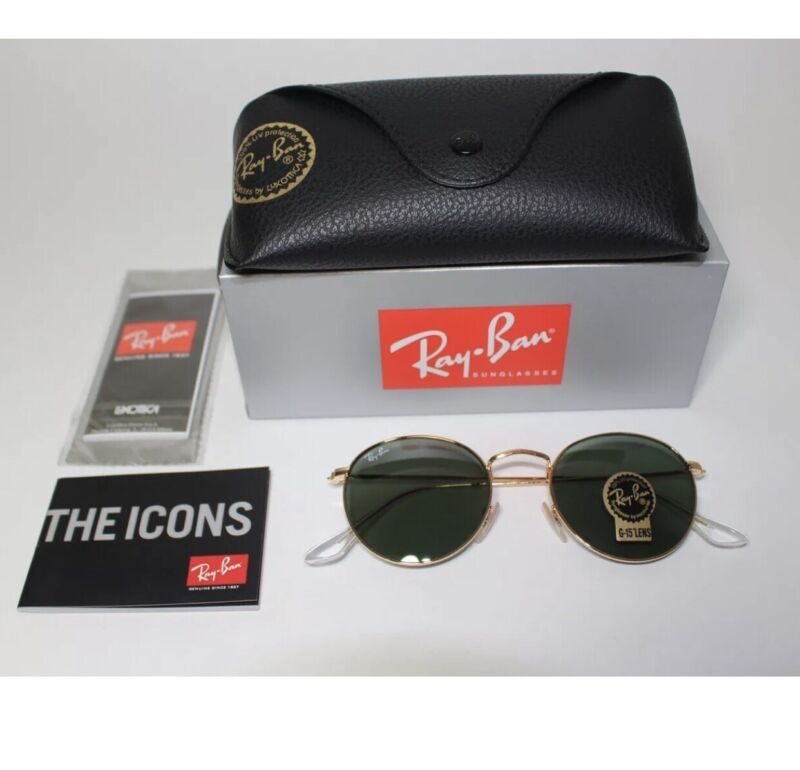 Ray-Ban RB 3447 ROUND METAL Sunglasses 50-21 Green Classic Lens/ Unisex🇺🇸US