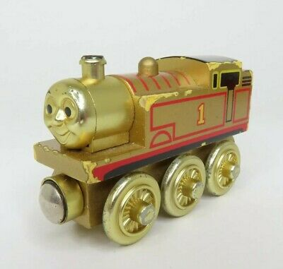 """Thomas the Train - Golden Colored Wooden Train - Limited """"60 Year"""" Edition"""