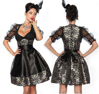 Petticoat Set (Sexy Mini Dirndl Set 4-tlg Oktoberfest Kostüm : Rock Petticoat Corsage Schürze )