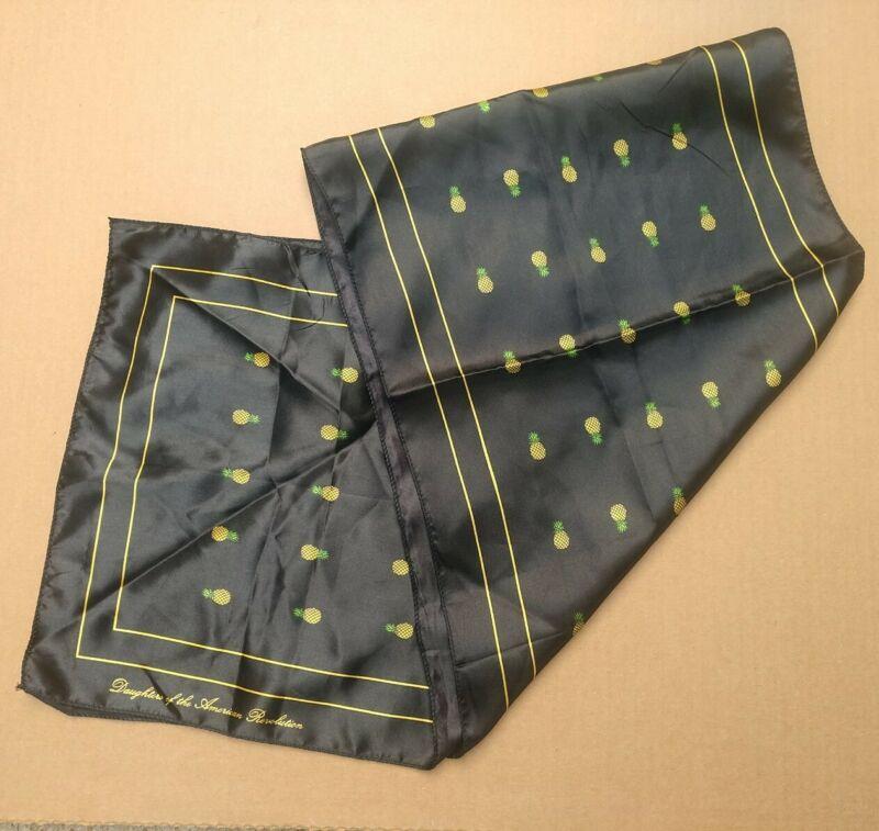 DAUGHTERS OF THE AMERICAN REVOLUTION vintage Black silk Pineapple Scarf