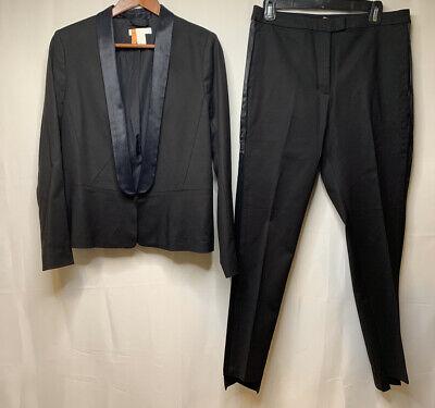 H&M Women's Black Cotton Satin Tuxedo Pant Suit Jacket Size 10 Pants Size 12