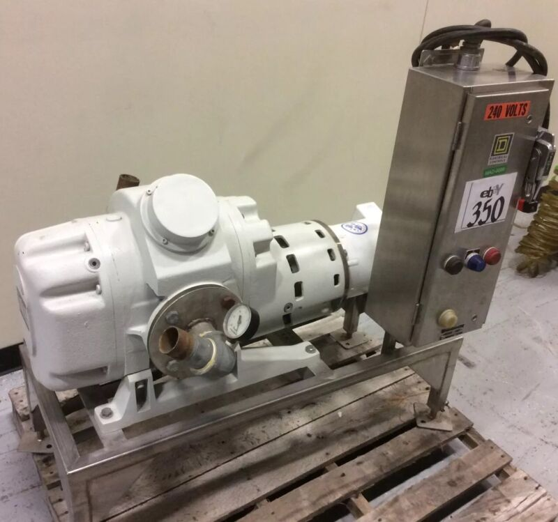 RUVAC WSU1001H ROOTS BLOWER VACUUM PUMP 5HP W/ SQ.D DISCONNECT & S/S STAND