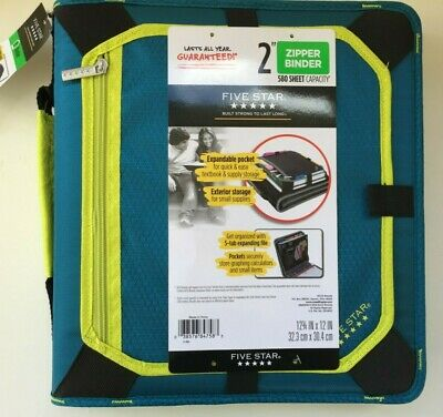 Mead Five Star 2 In Zipper Binder 580 Sheet Expansion Panel Teal Neon Green New