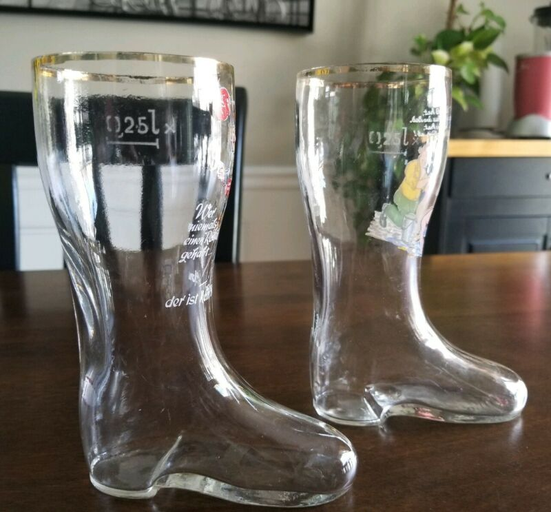 Set 2 Small Vintage German Boot Beer Glass