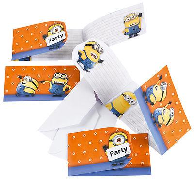 6 Minion Einladungskarten Geburtstag Kindergeburtstag Party Einladungen Umschlag