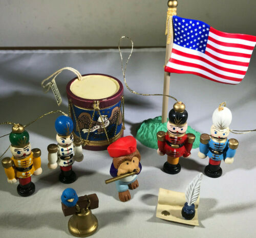 Hallmark Merry Miniatures - 4th of July Scene S/4 + Midwest Drum