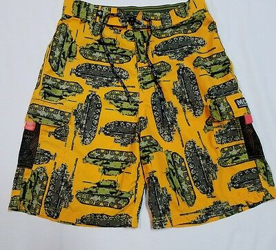 "Board Shorts Mens 29-30"" - Yellow - Army Tanks Military Camo Video Game Pixel"