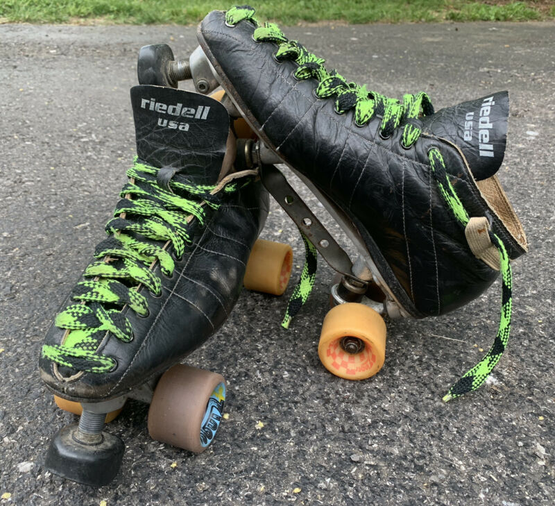 Vintage Riedell 595 Speed Skates Size 12 Mounted On Sure Grip XK-4 9 Green USA