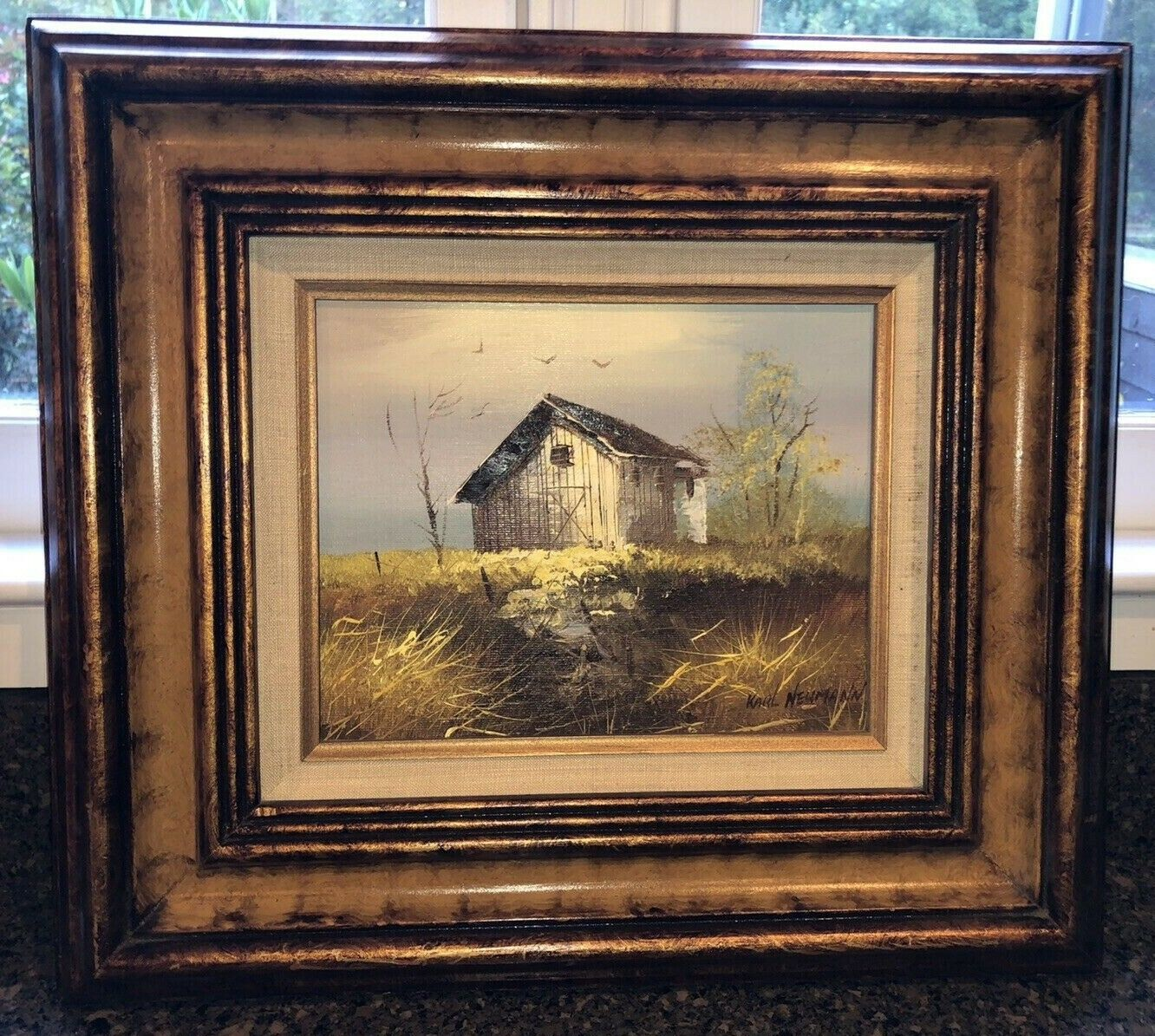 Original And Signed Karl Neumann Oil Painting On Canvas Of Rustic Barn In Frame - $114.99