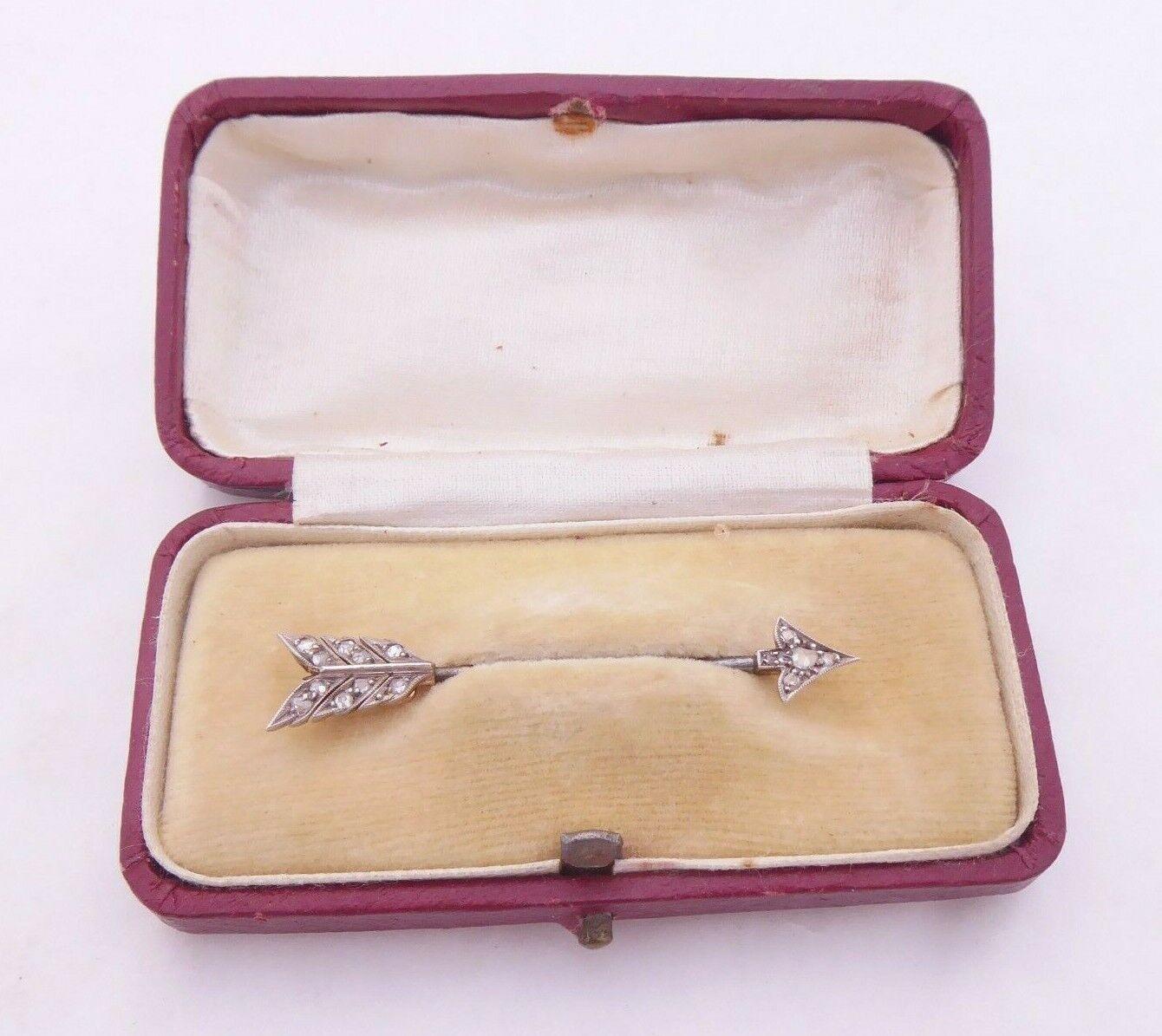 15ct gold rose cut diamond brooch, Boxed JOBOT  art deco