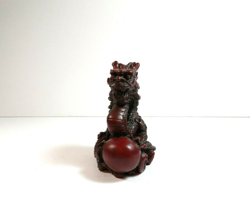 Cherry Red Resin Chinese Foo Dragon with Ball