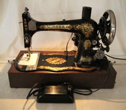 RARE ANTIQUE 1889 SINGER MODEL 27 SEWING MACHINE FIDDLE BASE ELECT MOTOR & CASE