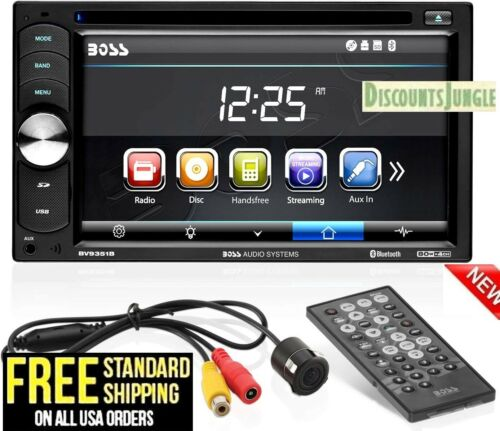 "Boss BVB9351RC Double Din Car DVD/CD/USB/Bluetooth Receiver 6.2"" W/Backup Camera"
