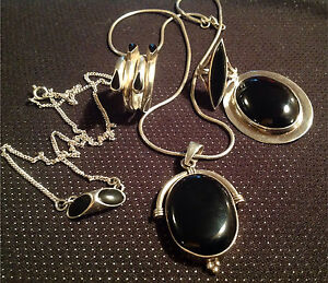 Sterling  silver and black onyx jewelry lot or individual sale