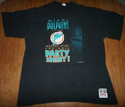 Miami Dolphins Vtg Lrg T Shirt Official Monday Night Football Party Shirt 1993