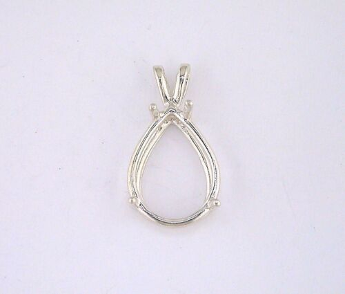Pear Shape 4 Prong Wire Mount Pendant Setting Sterling Silver