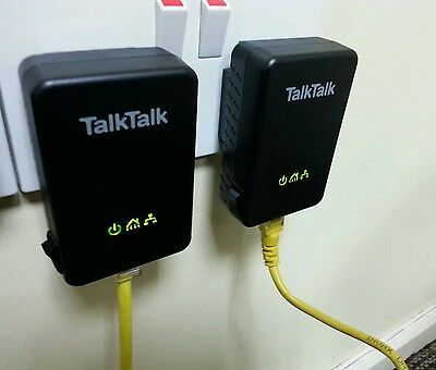 TalkTalk Huawei Powerline Adapters  PT200AV (PAIRED) plus 2 x Ethernet Cables!