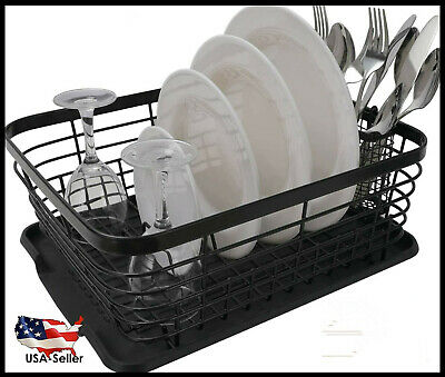 Life Kitchen Dish Drainer Drying Rack with Drip Tray and Full-Mesh Silverware