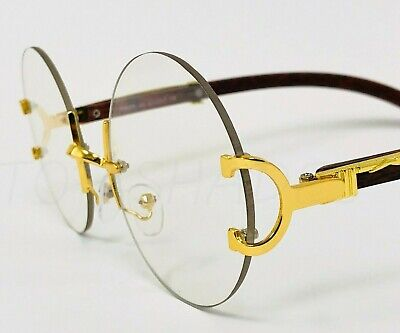 Men Clear Glasses Hip-Hop Wood Buffs Migos Quavo Round Rimless Gold Frame (Clear Sunglasses For Men)