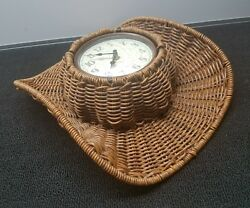Ashton Sutton Cowboy western Hat basket weaved wall clock