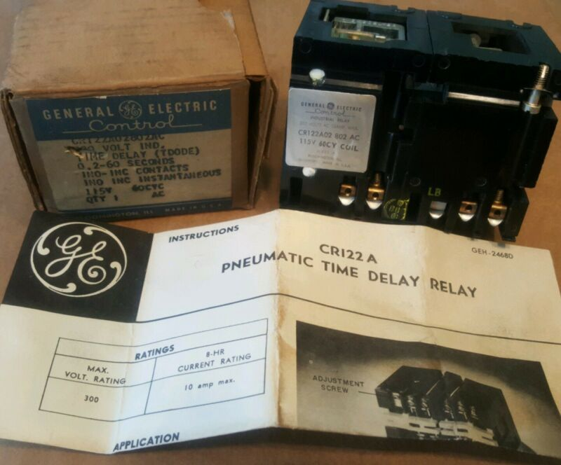 General Electric Pneumatic Time-Delay Relay 0.2 to 60 Seconds 10A CR122A02802AC