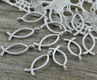 10 Metallanhänger  Fisch Symbol 20x8mm Farbe antik Silber  ()