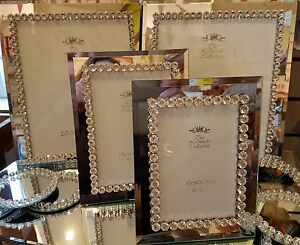 MIRROR AND DIAMONDS PHOTO FRAME 5 X 7  SPARKLE BLING ROMANY ESSEX