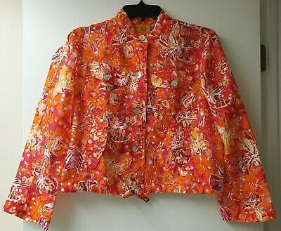 Ruby Rd. - Women's Orange Red Floral Pattern Button Up Jacket Petite Size 4P