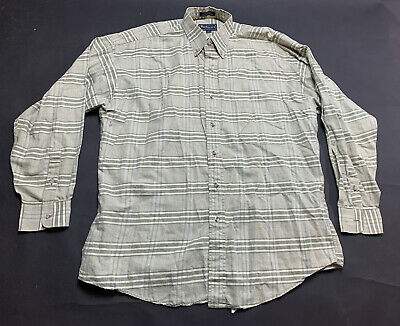 Burberry of london green striped long sleeve size large button down shirt