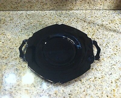 "Vintage Mt. Pleasant Black Amethyst 7"" Two-Handled Plate By L. E.Smith Glass Co."