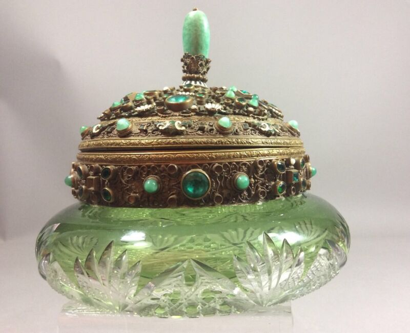 Antique Cut To Clear Green Emerald Jeweled Box Austria 19c