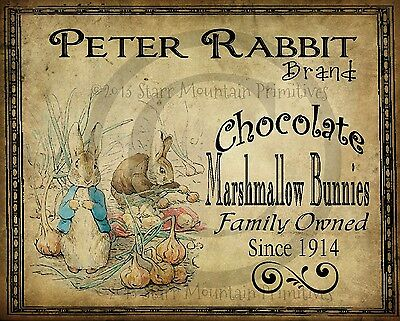 Купить Primitive Spring Peter Rabbit Chocolates Bunny Easter Picture Print 8x10