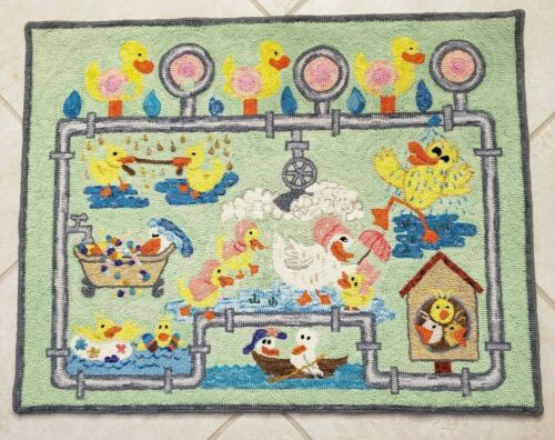 HAND HOOKED RUG - JUST DUCKY