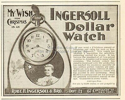 1901 Ingersoll Dollar Pocket Watch My Wish for Christmas Antique Magazine Ad