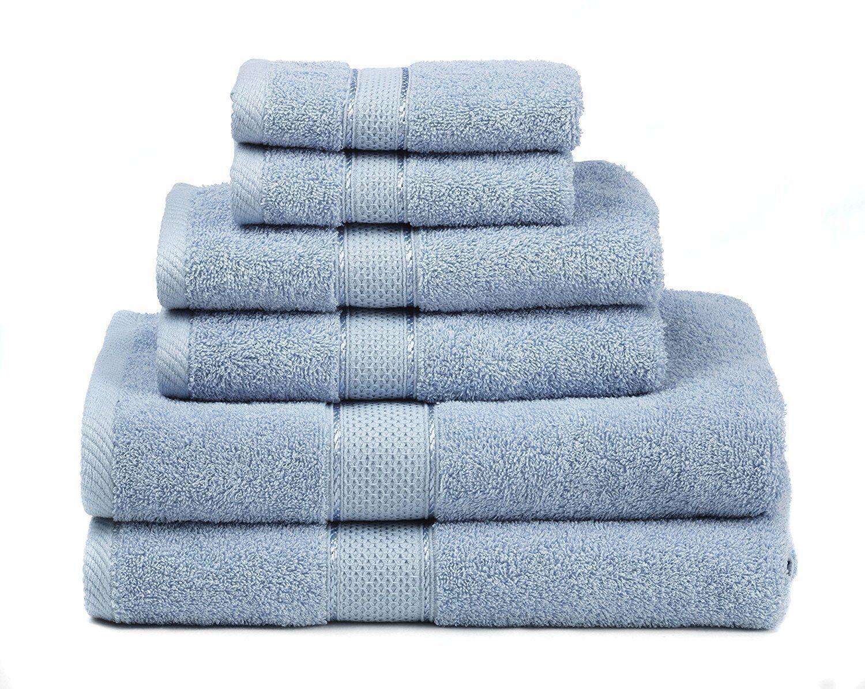 Blue Cotton Towel Set Bath Towels Hand Washcloths Bathroom A