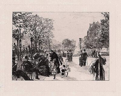 """1800s Leon LHERMITTE ORIGINAL Etching """"Busy Avenue Champs-Élysées"""" SIGNED COA"""