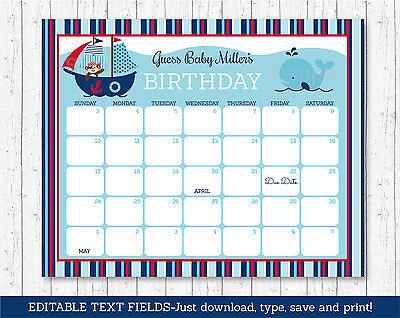 Pirate Monkey Nautical Whale Printable Baby Due Date Calendar Editable Pdf
