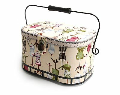 Vintage Sewing Basket Large Needlework Box Storage Craft Supplies Tools w/Tray