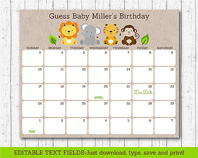 Cute Jungle Safari Animals Printable Baby Due Date Calendar Editable Pdf