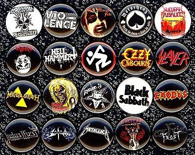 Heavy Metal 20 NEW button pin badge Venom Mercyful Fate Ozzy Sodom Celtic Frost